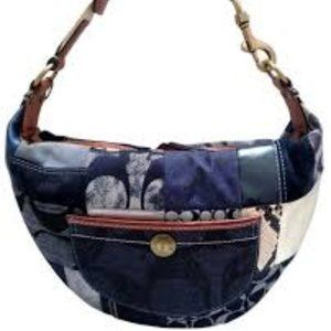 Coach Denim and Suede Patchwork Hobo Purse